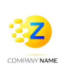 Z letter splash yellow dots and circle bubble vector