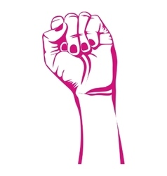 Pink closed hand symbol support breast cancer vector