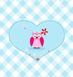 Pink owl with red flower vector image