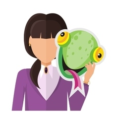 Woman with chameleon mask flat design vector