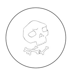 Human ancient bones icon in outline style isolated vector