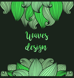 Green waves on dark background card vector