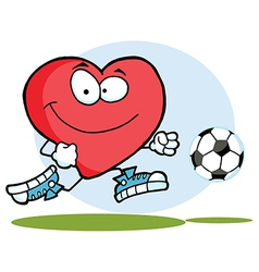 Red heart playing with soccer ball vector