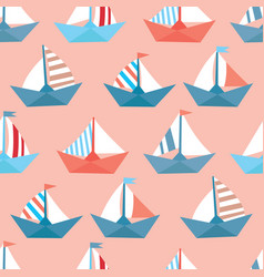 Seamless pattern with colorful paper ships sea vector