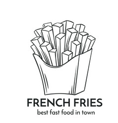 Hand drawn french fries icon vector