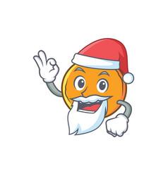 Santa orange fruit cartoon character vector