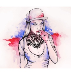 Girl in a cap and tattoos vector