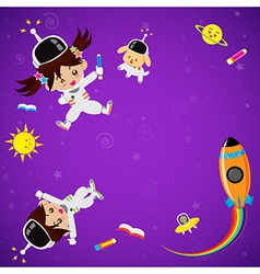 Cute children on space place vector