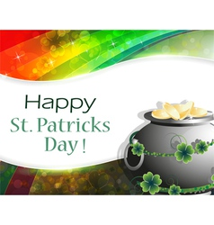 Pot of gold on rainbow background vector