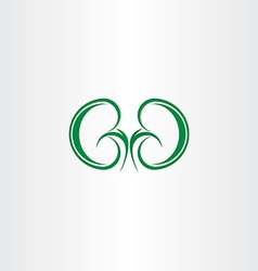 Green healthy kidneys symbol vector