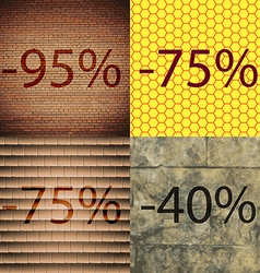 75 40 icon set of percent discount on abstract vector