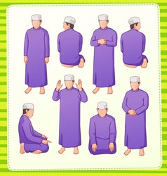 Muslim praying postion vector