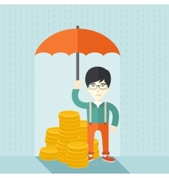 Chinese businessman with umbrella as protection vector