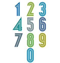 Funky stripes numbers set vector