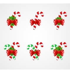 Set of traditional christmas candy cane decoration vector