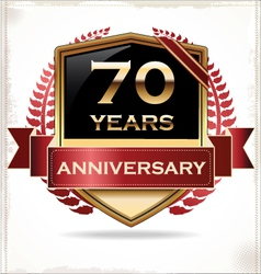 70 years anniversary golden label vector image