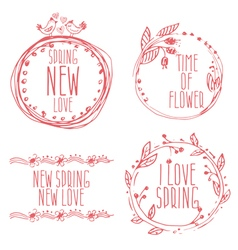 Hand Drawn spring labels with flowersbranches and vector image