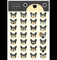 French bulldog emoji icons vector