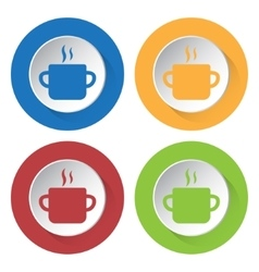 Set of four icons - cooking pot with smoke vector