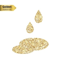 Gold glitter icon of puddle isolated on vector