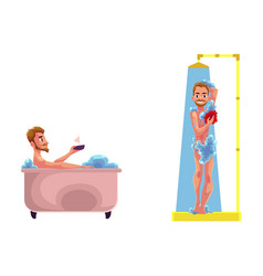 adult man washing in bathtub shower set vector image