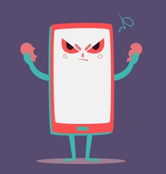 Angry cell phone tearing a heart apart vector