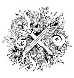 Black and white hand drawn abstract kaleidoscope vector