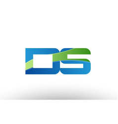 Blue green ds d s alphabet letter logo vector