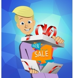 Boy holding a gift box vector