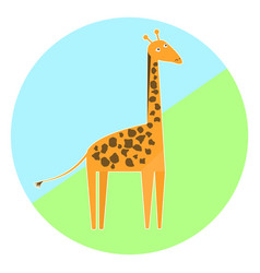 cartoon colorful giraffe icon vector image
