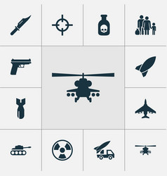 combat icons set with chopper cutter ordnance vector image