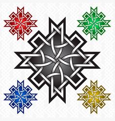 Cruciform rhombus logo template in celtic knots vector