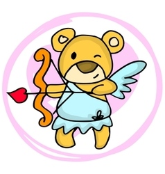 Cupid bear cartoon valentine days vector