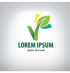 Ecology logo - green design - growth vector