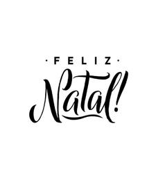 Feliz natal merry christmas calligraphy template vector