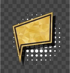 Gold square sparkle comic text bubble vector