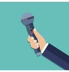 hand holding a microphone vector image vector image