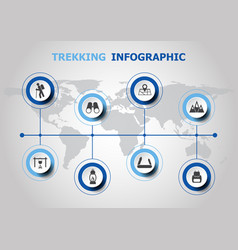 Infographic design with trekking icons vector