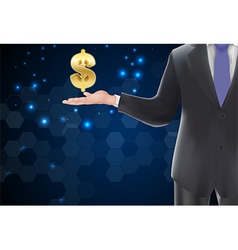 Man with icons symbol of dollar gold on the hand vector
