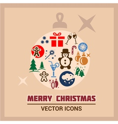 merry christmas icons vector image
