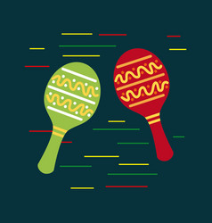 mexican red and green maracas music folklore vector image