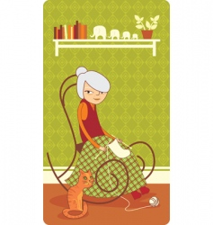 Old lady knitting vector