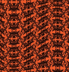 Orange black warped damask pattern vector