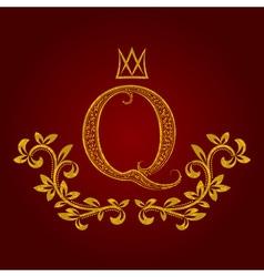 Patterned golden letter q monogram in vintage vector