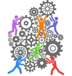 People teamwork gears background vector
