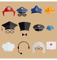 Professional people hats set vector