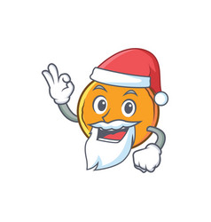 Santa orange fruit cartoon character vector