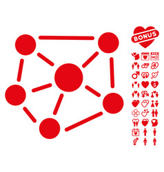 social graph icon with love bonus vector image vector image