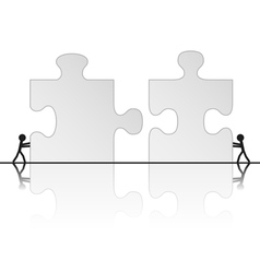 solving puzzle vector image