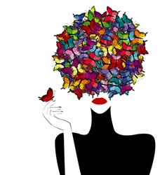 Stylized woman wiith colored butterflies on her vector